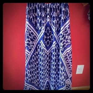 Express blue and white maxi dress